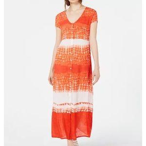 RAGA Orange Tie Dye Boho Maxi Dress Medium